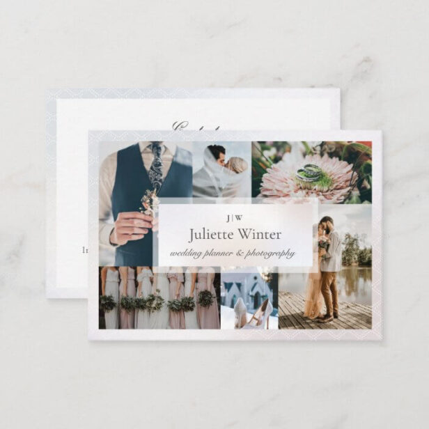 Elegant Sheer Silk Pearl Photo Collage Photography Business Card