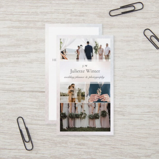 Elegant Sheer Silk Pearl Photo Collage Photography Vertical Business Card