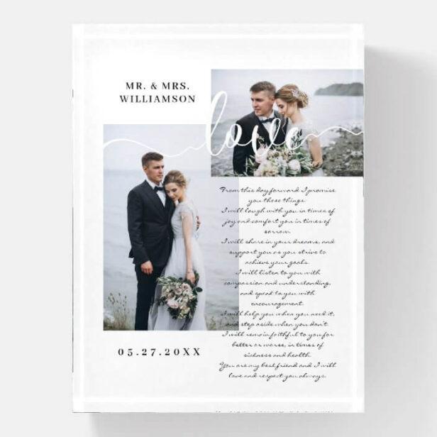 Elegant Wedding Vows Love Script Minimal Two Photo Paperweight