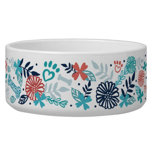 Floral & Foliage Pet Paw, Dog Bone Print Pattern Pet Bowl