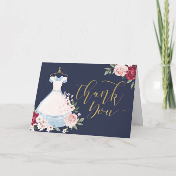Floral Watercolor Alice in Wonderland Blue Dress Thank You Card