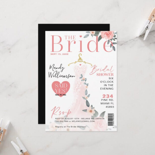 Floral Wedding Dress Bridal Shower Magazine Cover Invitation