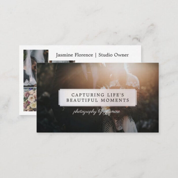 Full Photo Sheer Pearl Nameplate Photography Photo Business Card