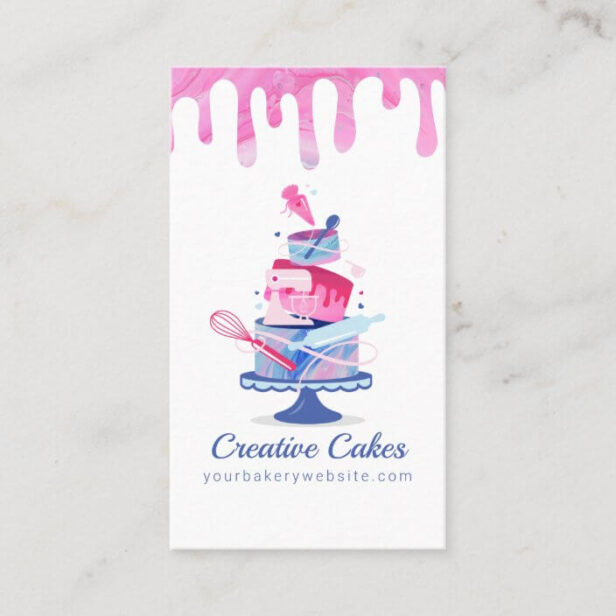 Fun Colorful Pastry Cakes Bakery & Tools Pink Drip White Business Card