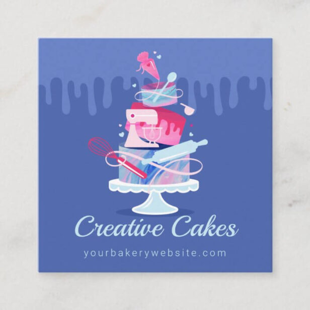 Fun Colorful Pastry Cakes Bakery & Tools Pink Drip Square Blue Business Card