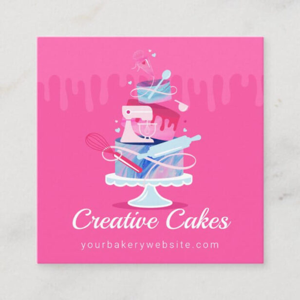 Fun Colorful Pastry Cakes Bakery & Tools Pink Drip Square Business Card Pink