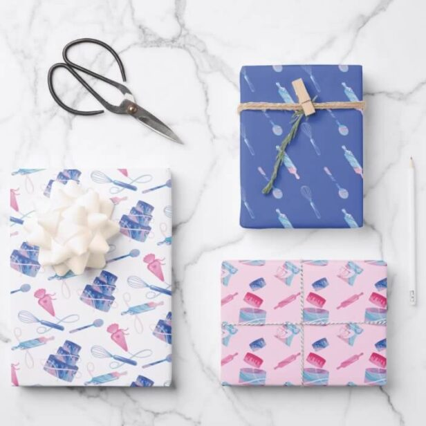 Fun Pink Blue Baking Utensils & Marble Glaze Cake Wrapping Paper Sheets