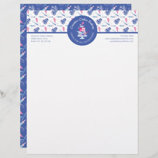 Fun Pink & Blue Marble Bakery Cake & Tools Logo Letterhead