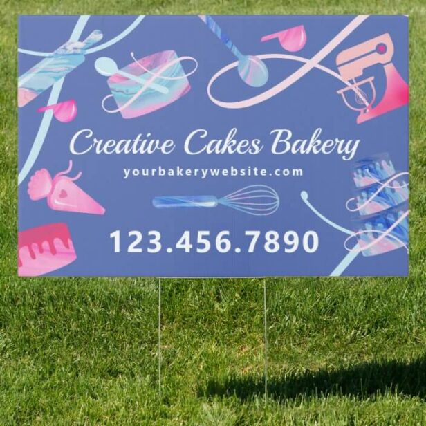 Fun Pink Blue Marble Bakery Cakes Tools & Utensils Blue Sign