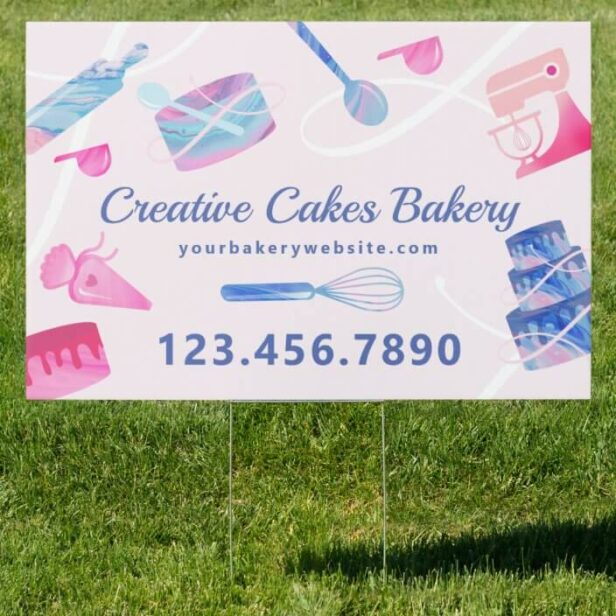 Fun Pink Blue Marble Bakery Cakes Tools & Utensils Light Pink Sign