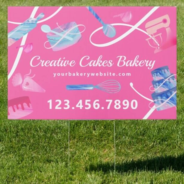 Fun Pink Blue Marble Bakery Cakes Tools & Utensils Pink Sign