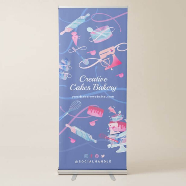 Fun Pink Blue Marble Bakery Cakes Tools & Utensils Retractable Banner