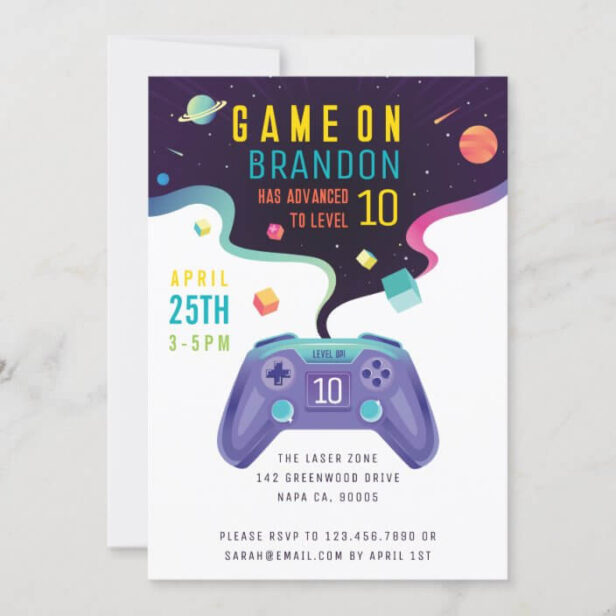 Game On Level Up Fun Video Game Birthday White Invitation