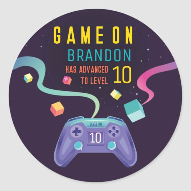 Game On Level Up Fun Video Game Birthday Party Cla Classic Round Sticker