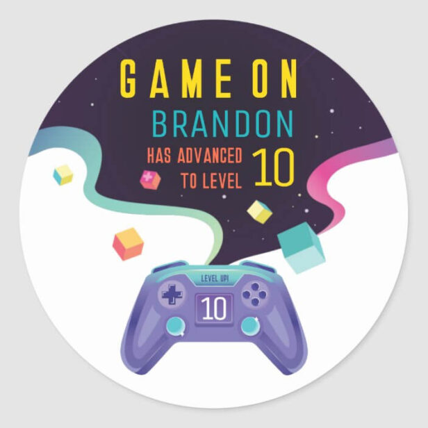 Game On Level Up Fun Video Game Birthday Party Classic Round Sticker