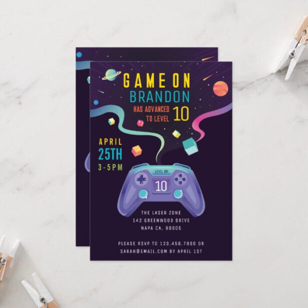 Game On Level Up Fun Video Game Birthday Party Invitation