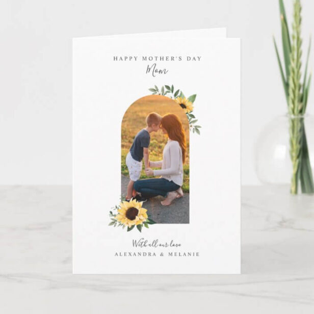 Happy Mother's Day Photo Arch Watercolor Sunflower Card