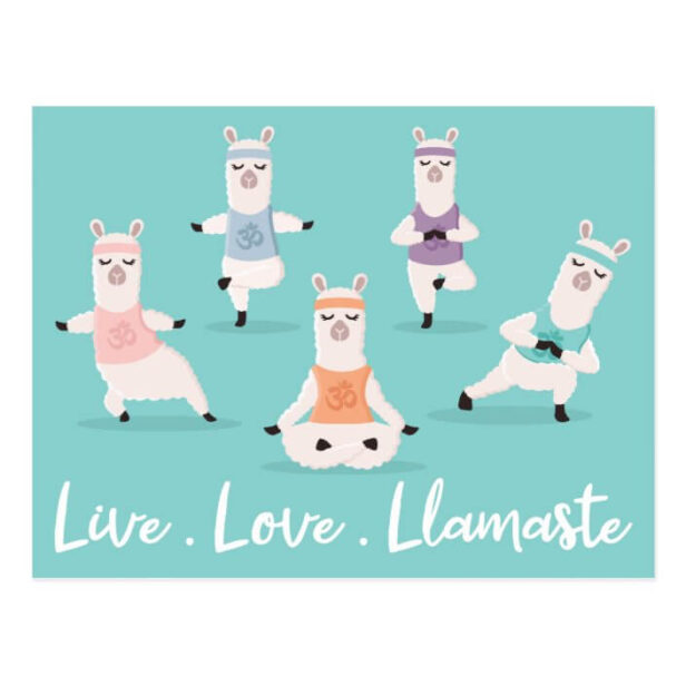 Live Love Llamaste | Fun Yoga Llama Characters Postcard