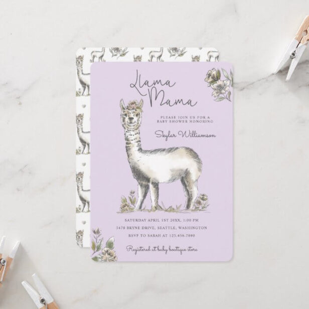 Llama Mamma Watercolor Llama Sketch Baby Shower In Invitation Purple