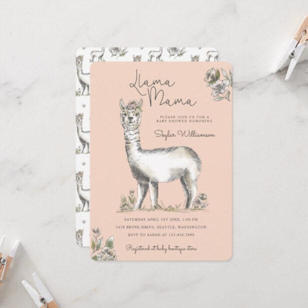 Llama Mamma Watercolor Llama Sketch Baby Shower Invitation Pink