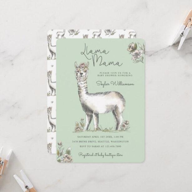 Llama Mamma Watercolor Llama Sketch Baby Shower Mint Green In Invitation