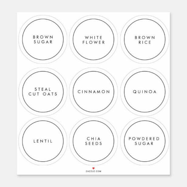 Modern Circle Kitchen & Pantry Storage Labels