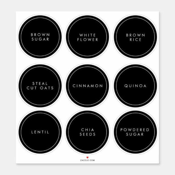 Modern Minimal Kitchen & Pantry Circle Storage Labels