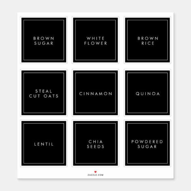 Modern Minimal Kitchen & Pantry Square Storage Labels