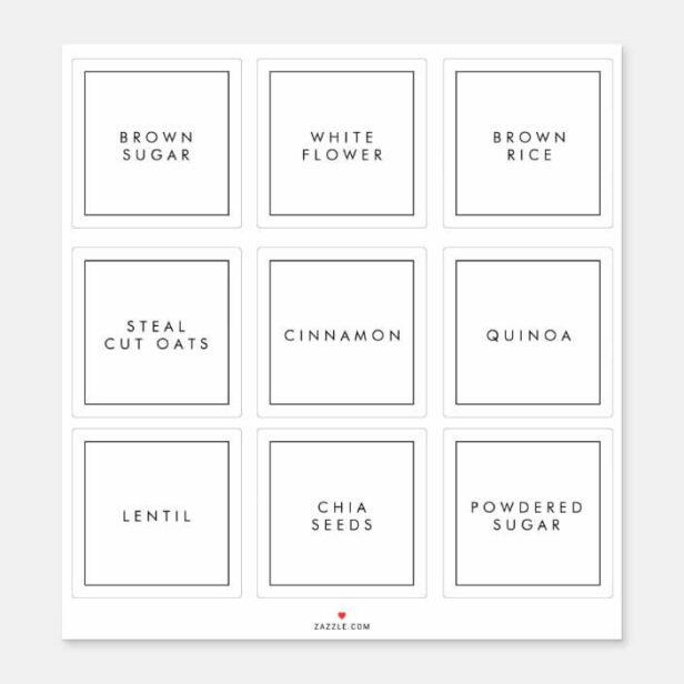 Modern Minimal Kitchen & Pantry Storage Labels