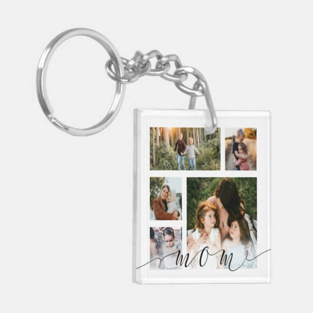Mom Family Photo Collage Special Message Keepsake Keychain
