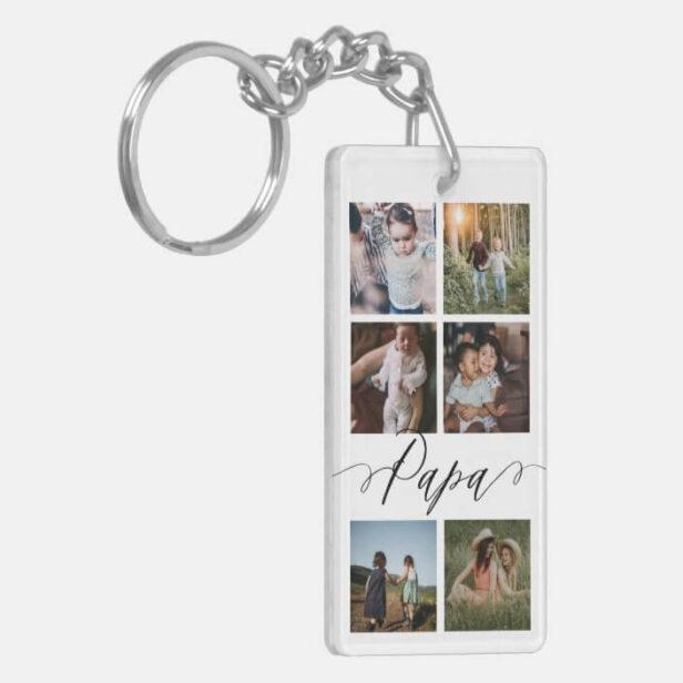 Papa Script | Grandchildren Photo Grid Collage Keychain