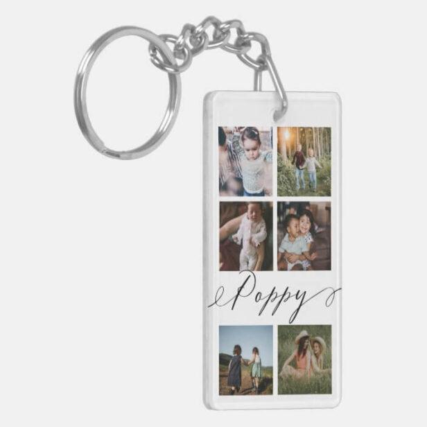 Poppy Script | Grandchildren Photo Grid Collage Keychain