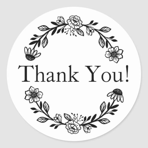 Thank You For Your Business Floral Wreath Classic Round Sticker