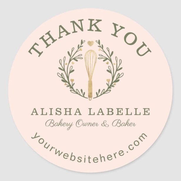 Thank You For Your Business Pink Bakery Whisk Logo Classic Round Sticker