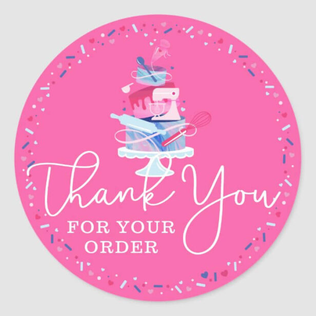 Thank You For Your Order Fun Bakery Cake & Tools Classic Round Sticker Pink