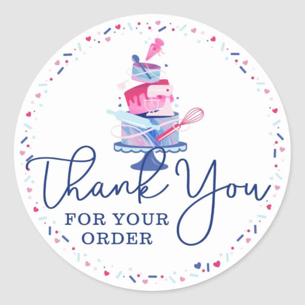 Thank You For Your Order Fun Bakery Cake & Tools Classic White Round Sticker