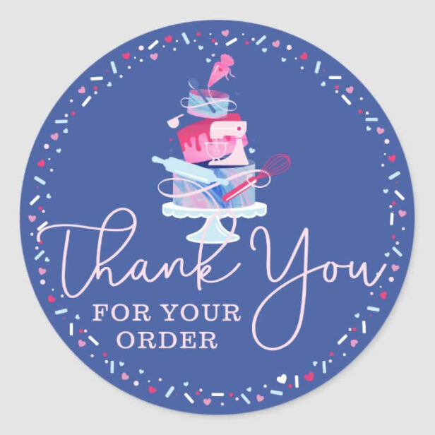 Thank You For Your Order Fun Bakery Cake & Tools Classic Round Sticker
