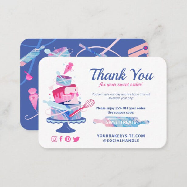 Thank You For Your Sweet Order Bakery Coupon Code Enclosure Card