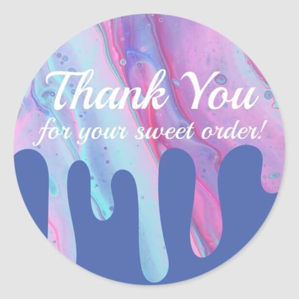 Thank You For Your Sweet Order Pink Drip Classic Round Sticker