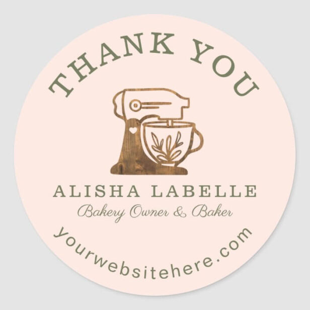 Thank You Rustic Woodgrain Bakery Stand Mixer Clas Classic Round Sticker Blush Pink