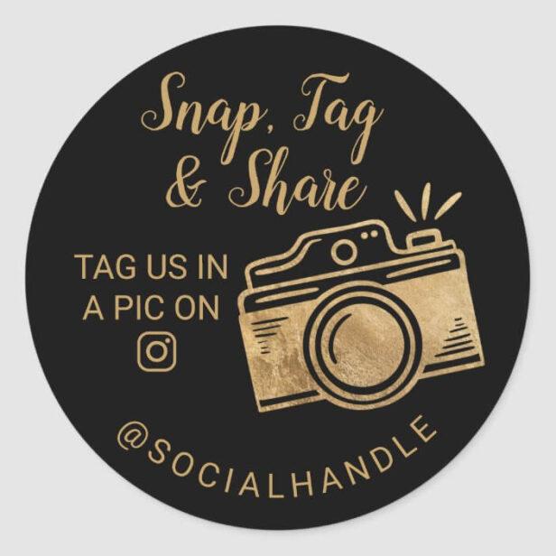 Thank You Snap, Tag & Share Social Media Camera Gold & Black