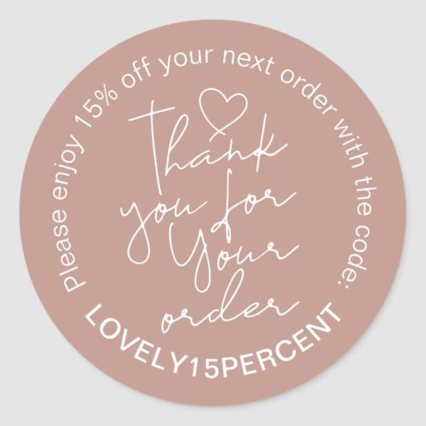 Thank you for your Order Trendy Script Promo Code Classic Round Sticker