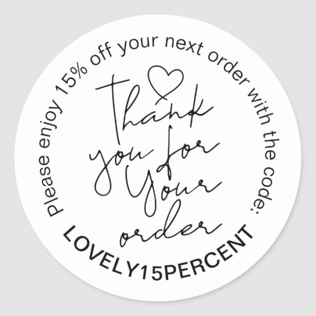 Thank you for your Order Trendy Script Promo Code Classic Round Sticker White