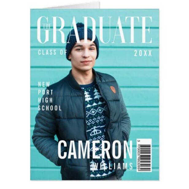 Trendy Magazine Cover Inspired Graduation Card