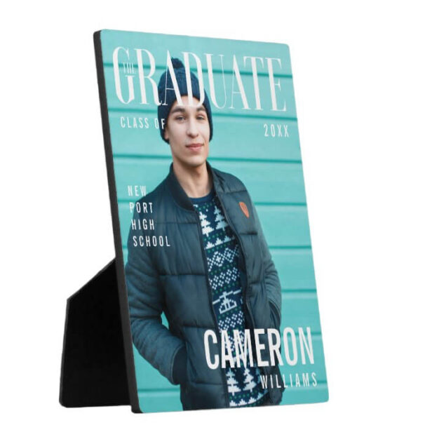 Trendy Magazine Cover Inspired Graduation Photo Plaque