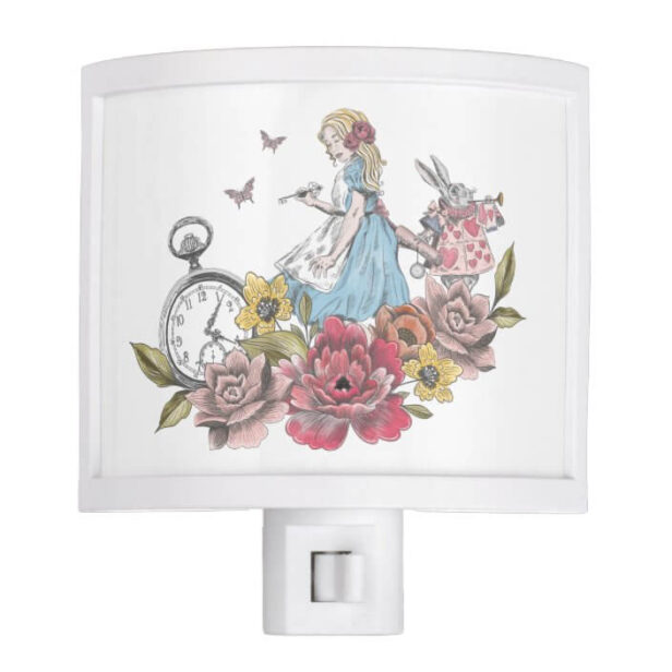 Vintage Alice in Wonderland Alice & Rabbit Floral Night Light