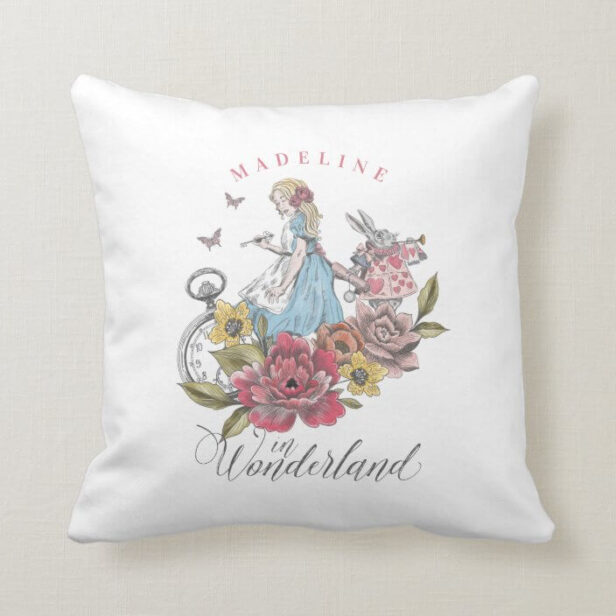 Vintage Alice in Wonderland Alice & Rabbit Floral Throw Pillow