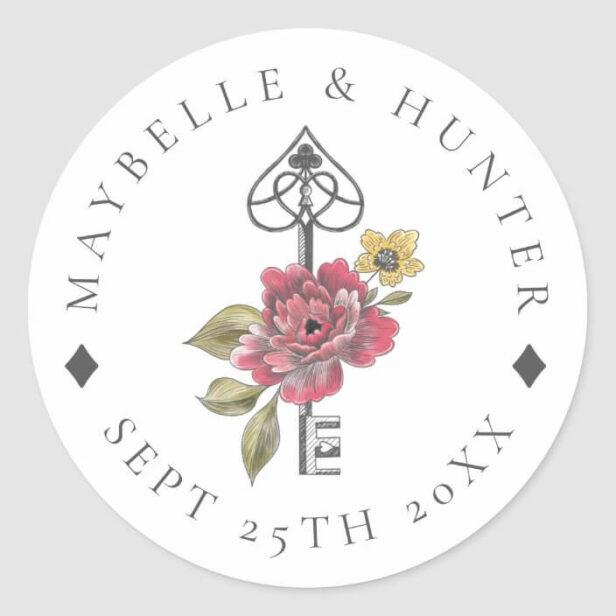 Vintage Alice in Wonderland Antique Key Wedding Classic Round Sticker