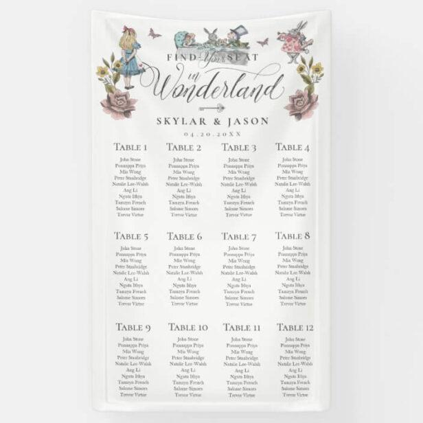 Vintage Alice in Wonderland Wedding Find Your Seat Banner