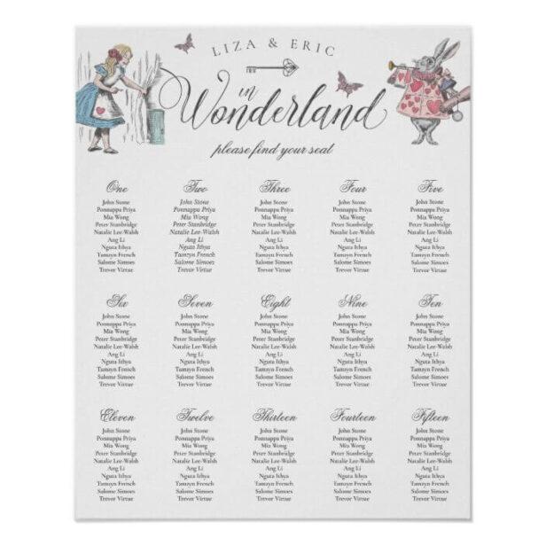 Vintage Alice in Wonderland Wedding Find Your Seat Poster